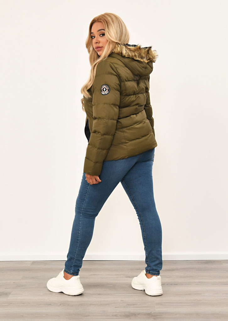 Khaki Toggle Padded Jacket With Fur Hood 4 view 4