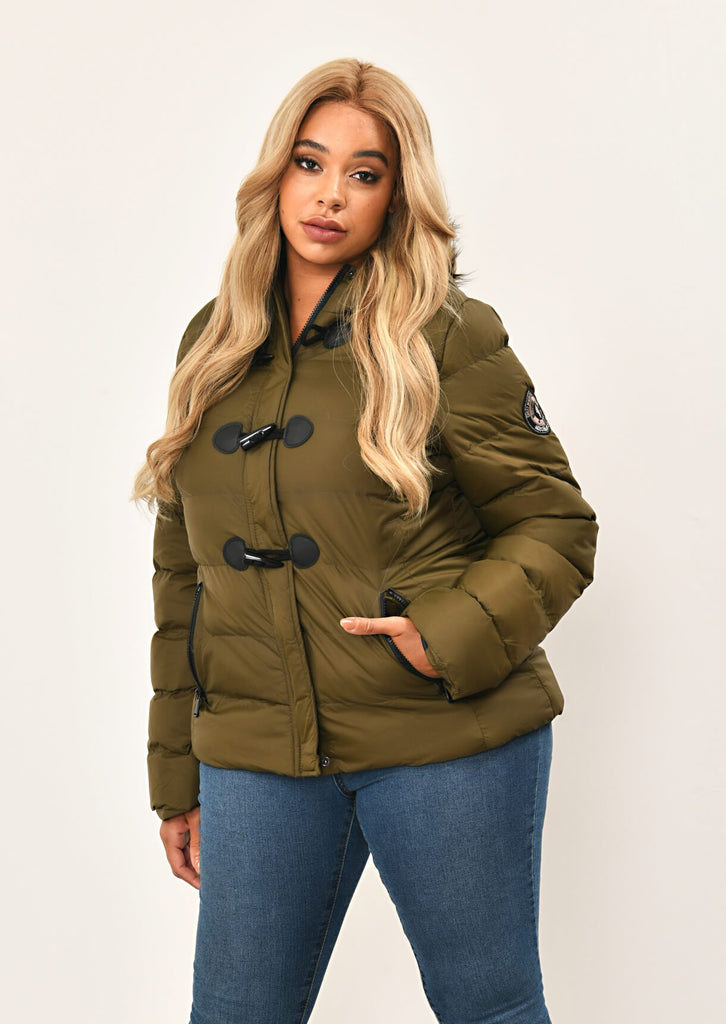Khaki Toggle Padded Jacket With Fur Hood 1