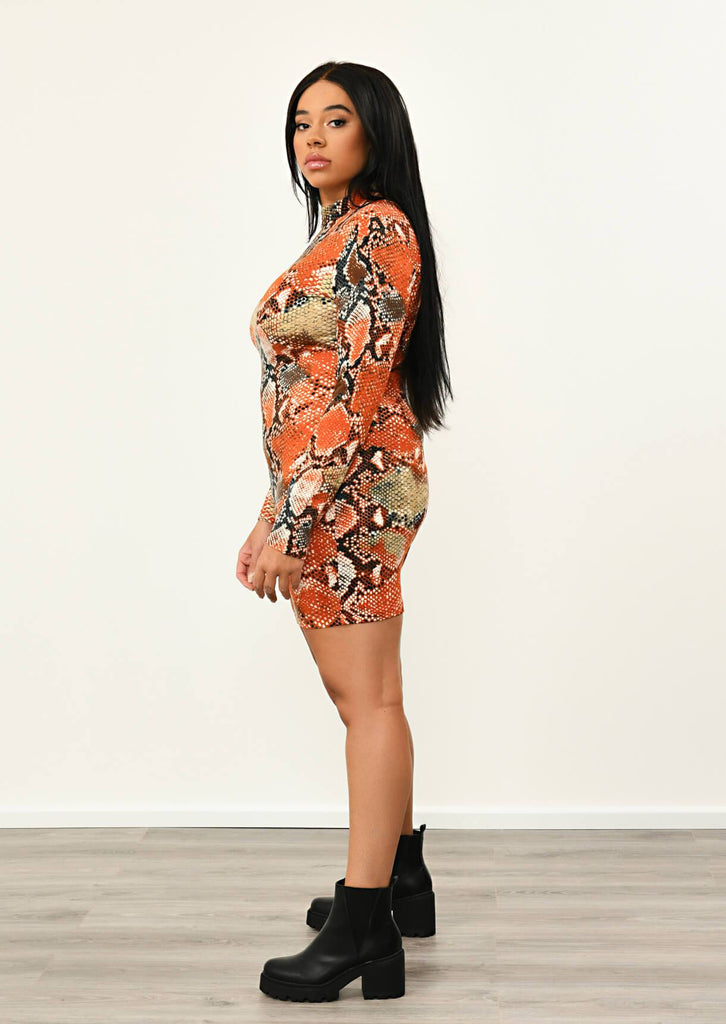 Orange Snake Print High Neck Long Sleeve BodyCon Dress 2 view 2