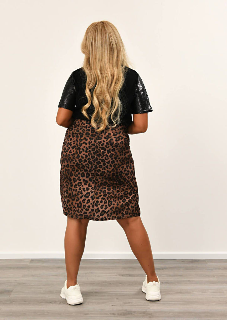 Pink Clove Leopard Side Split Midi Length Skirt view 3