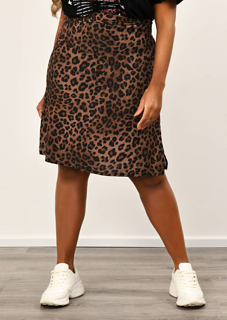 Pink Clove Leopard Side Split Midi Length Skirt view 4