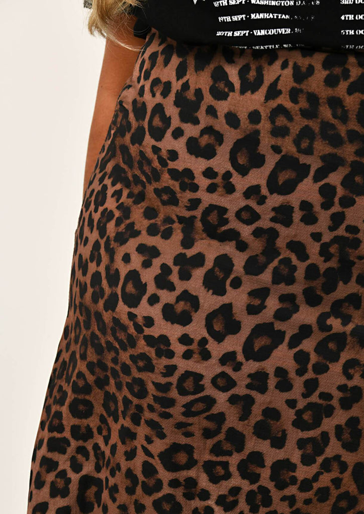 Pink Clove Leopard Side Split Midi Length Skirt view 5