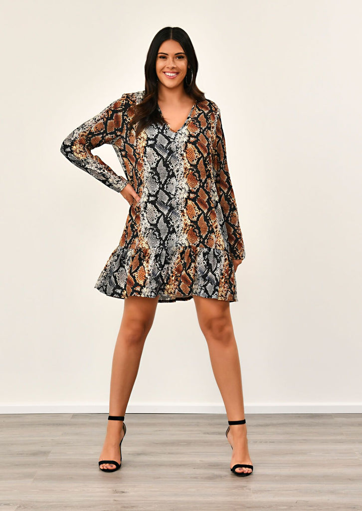 Plus size snake v neck printed smock dress