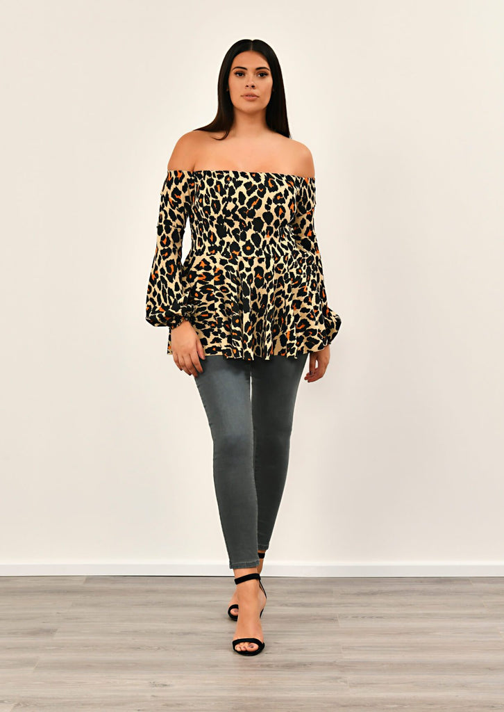 Leopard Off Shoulder Peplem Top 3 view 3