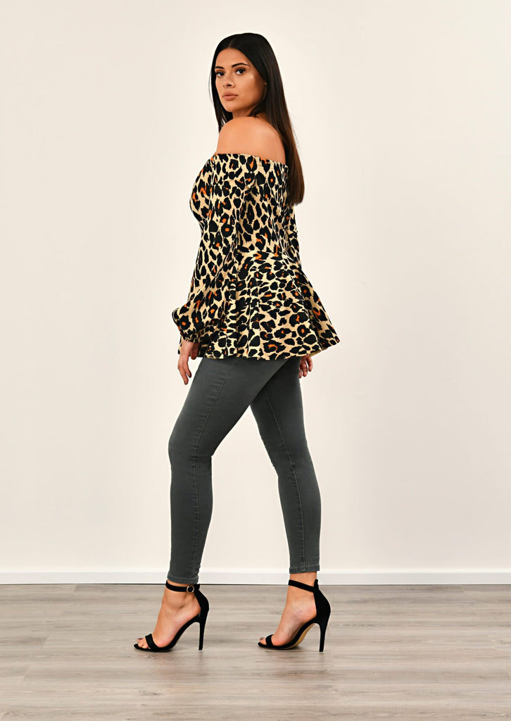 Leopard Off Shoulder Peplem Top 4 view 4