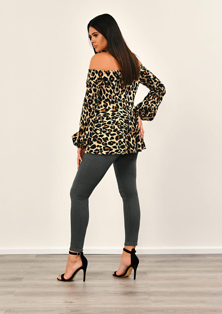 Leopard Off Shoulder Peplem Top 5 view 5