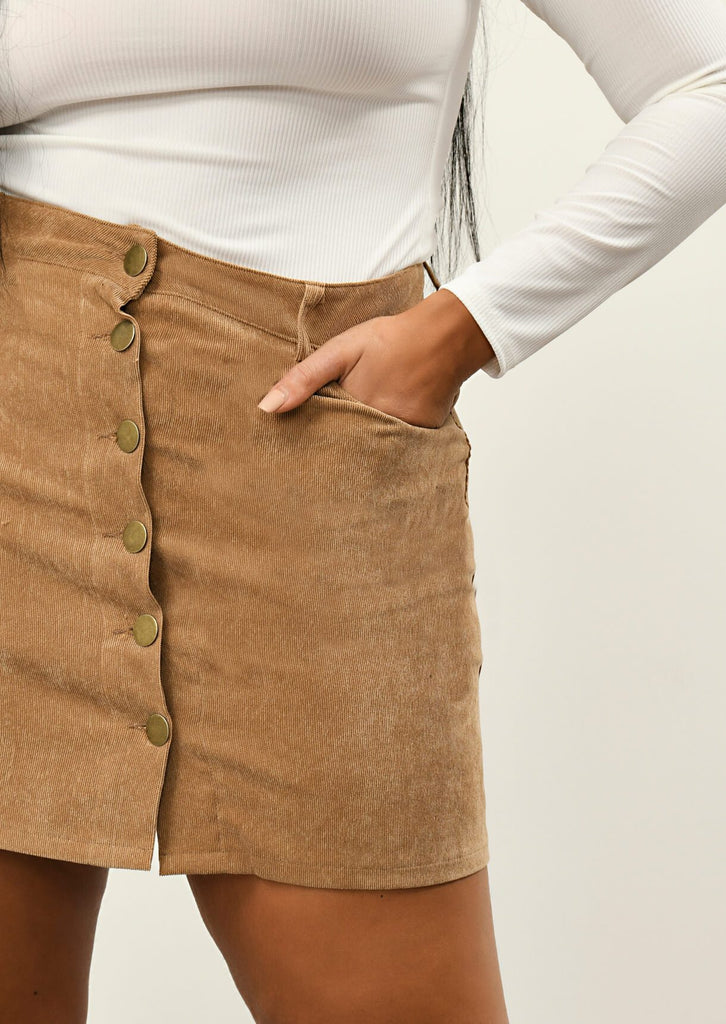 Pink Clove Tan 6 Button A Line Mini Skirt view 5