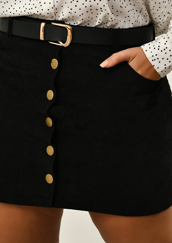 Pink Clove Black 6 Button A Line Mini Skirt view 5