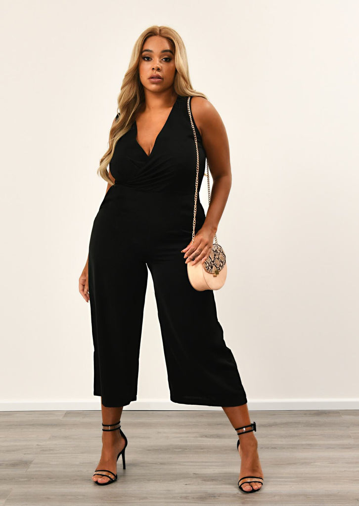 Black Cowl Wrap Jumpsuit 1 view main view