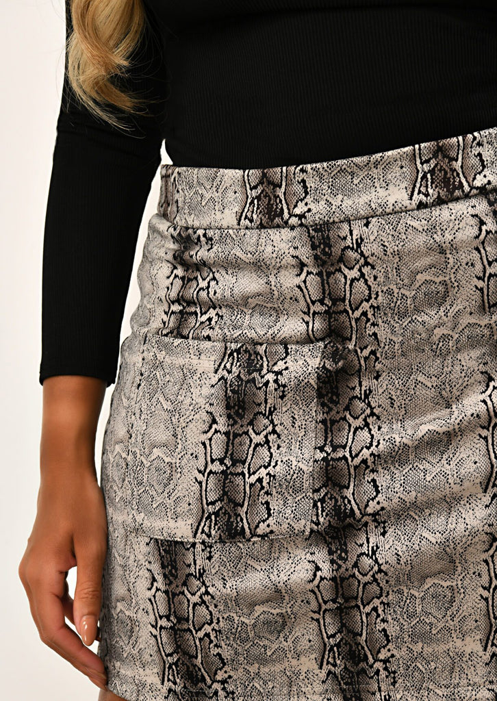 Pink Clove Grey Two Pocket Snake skin  Mini Skirt view 5