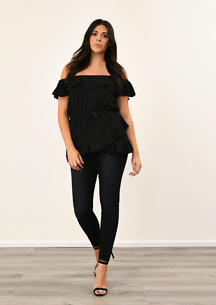 Black Woven Off Shoulder Ruffle Self Tie Top 1 view main view