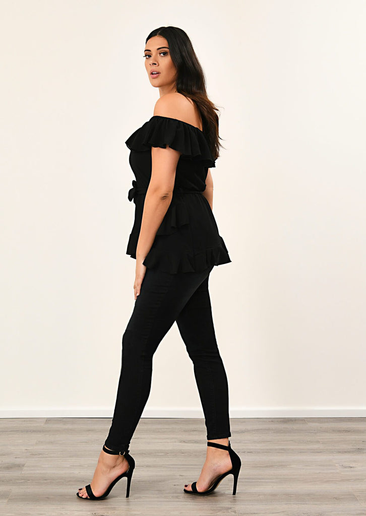 Black Woven Off Shoulder Ruffle Self Tie Top 2 view 2