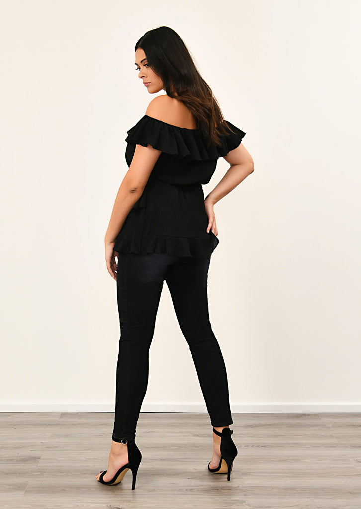 Black Woven Off Shoulder Ruffle Self Tie Top 3 view 3