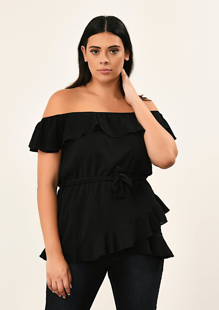 Black Woven Off Shoulder Ruffle Self Tie Top 4 view 4