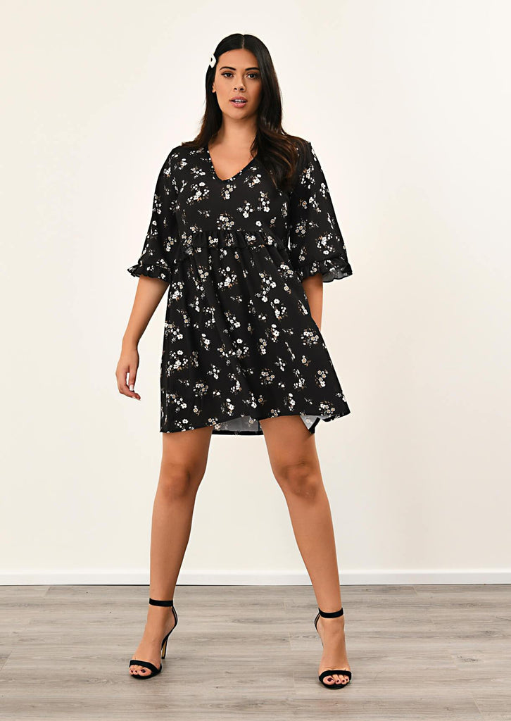 Pink Clove Black Floral Ruffle Smock Dress