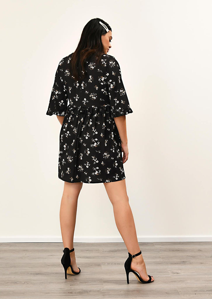 Pink Clove Black Floral Ruffle Smock Dress view 3