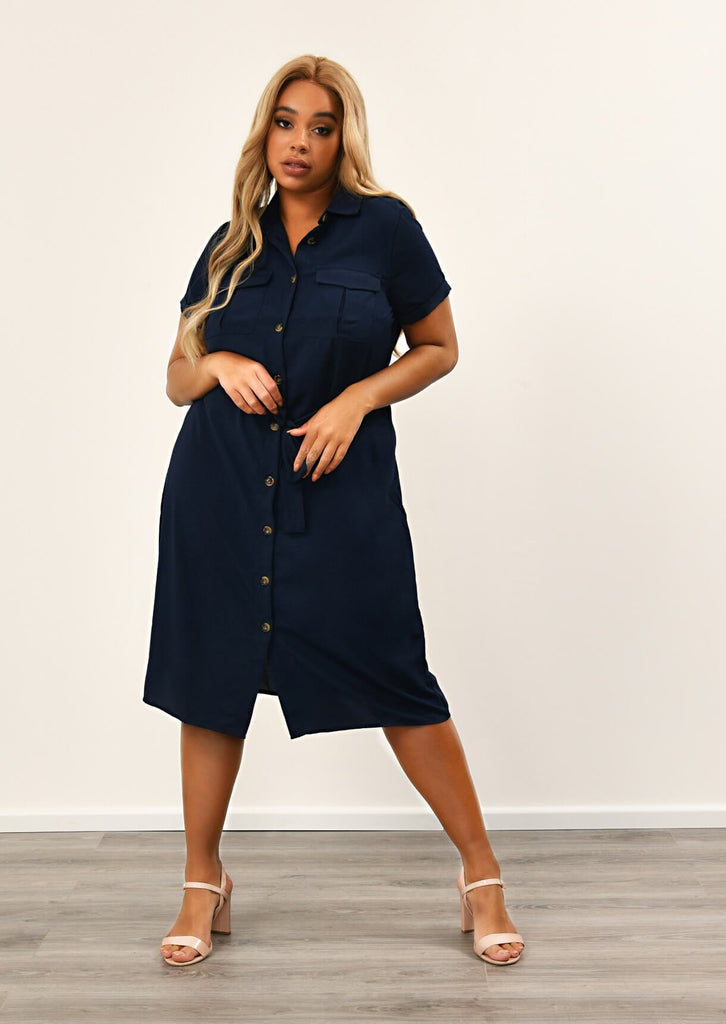 Navy Button Through Shirt Dress With Belt 1 view main view