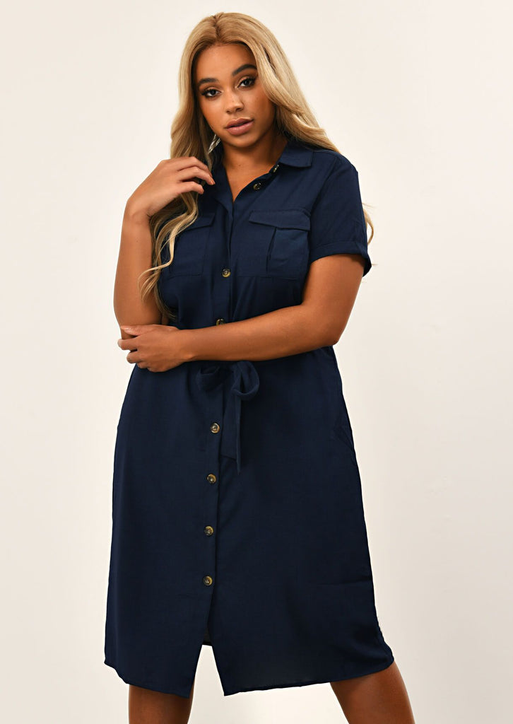 Navy Button Through Shirt Dress With Belt 2 view 2
