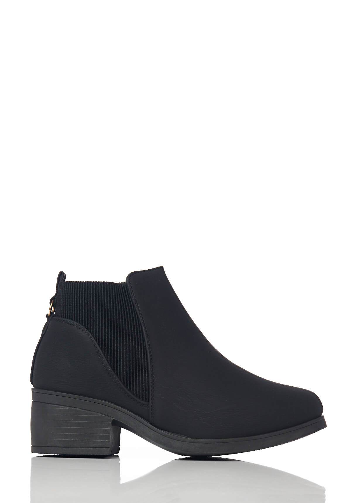 Wide Fit Black Low Heel Elasticated Side Boots