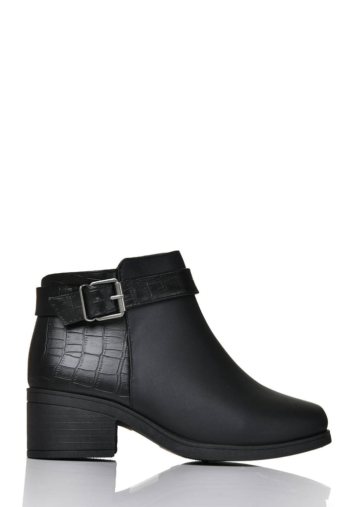 Pink Clove Wide Fit Black Side Buckle Boot view 3
