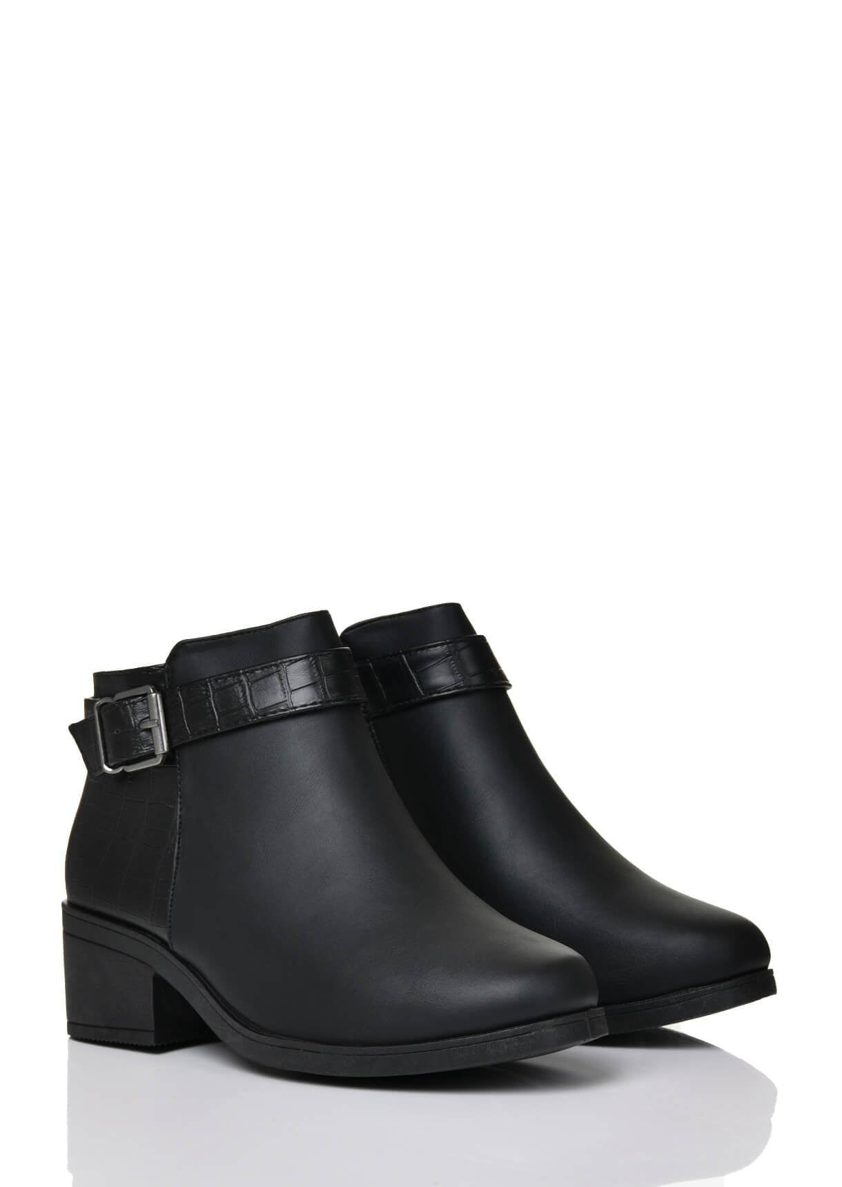 Wide Fit Black Side Buckle Boot