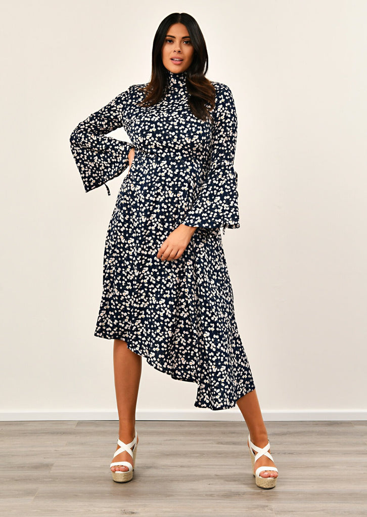 Pink Clove Navy Asymmetric Bell Sleeve Dress
