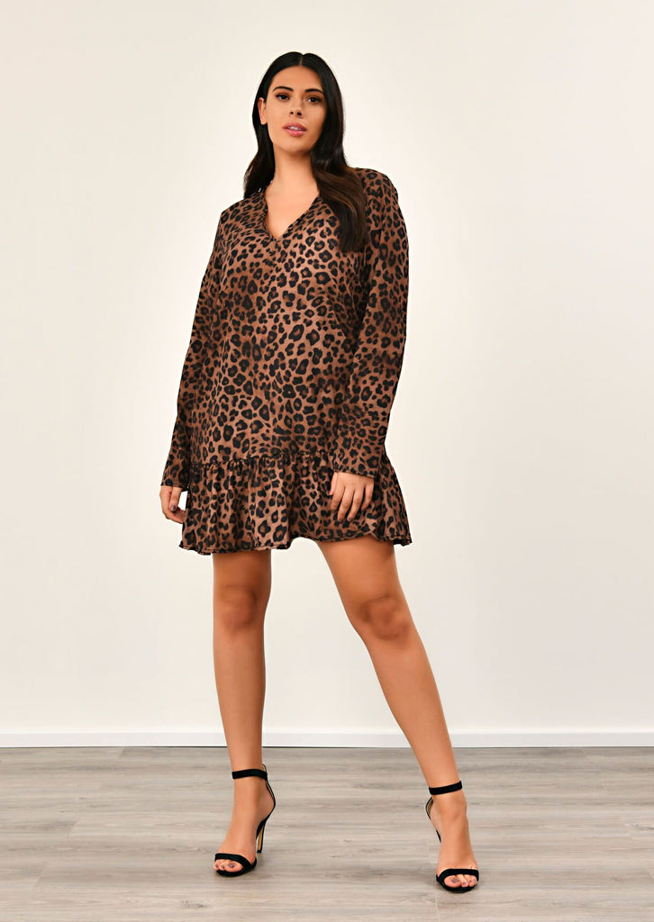 Leopard V Neck Printed Smock Dress 1