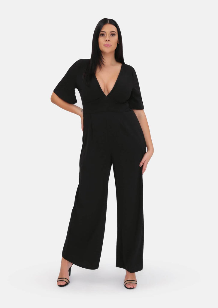 Pink Clove Black Plunge Angel Sleeve Jumpsuit