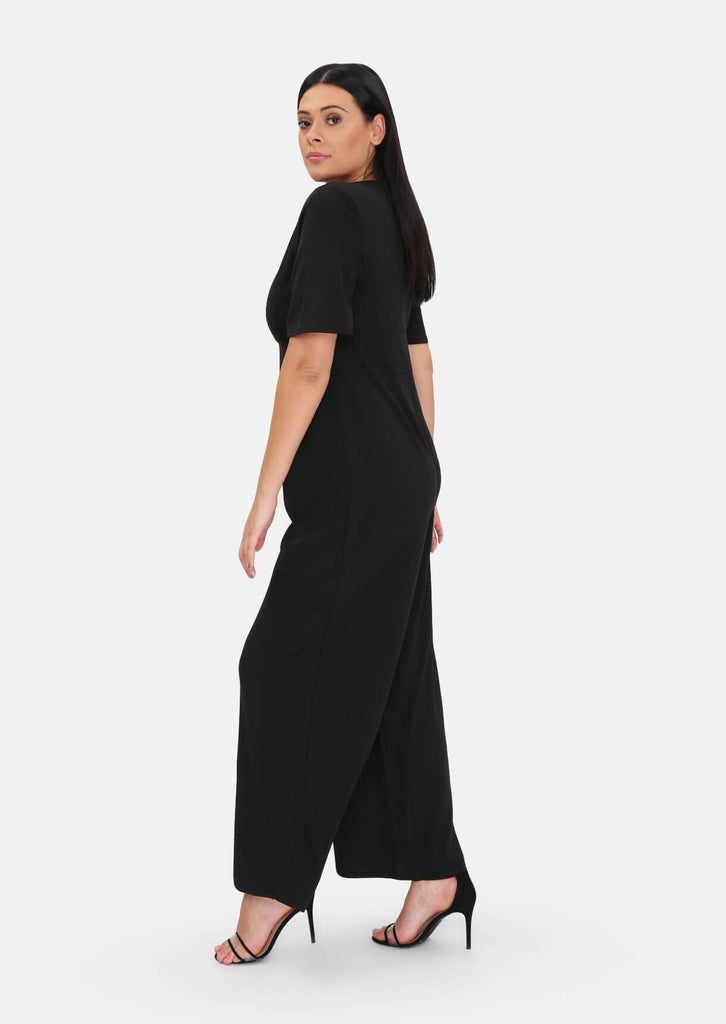 Pink Clove Black Plunge Angel Sleeve Jumpsuit view 3