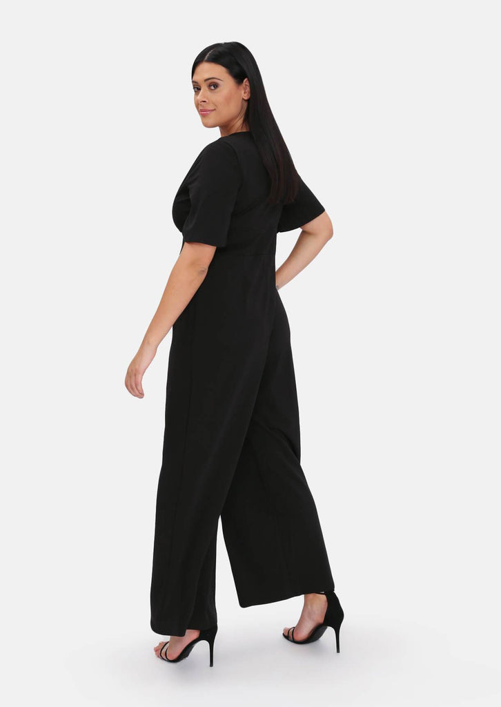 Pink Clove Black Plunge Angel Sleeve Jumpsuit view 4