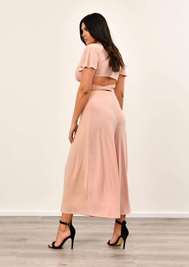 Pink Clove Blush Pink Slinky Wide Leg Cropped Pants Co-ord view 3