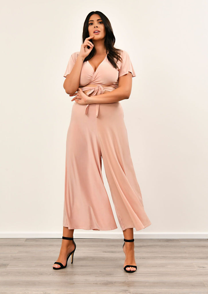 Pink Clove Blush Pink Slinky Wide Leg Cropped Pants Co-ord