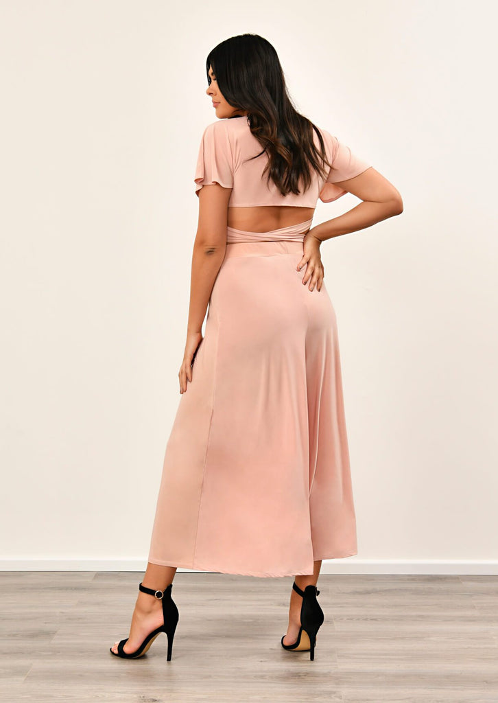 Pink Clove Blush Pink Slinky Wide Leg Cropped Pants Co-ord view 4