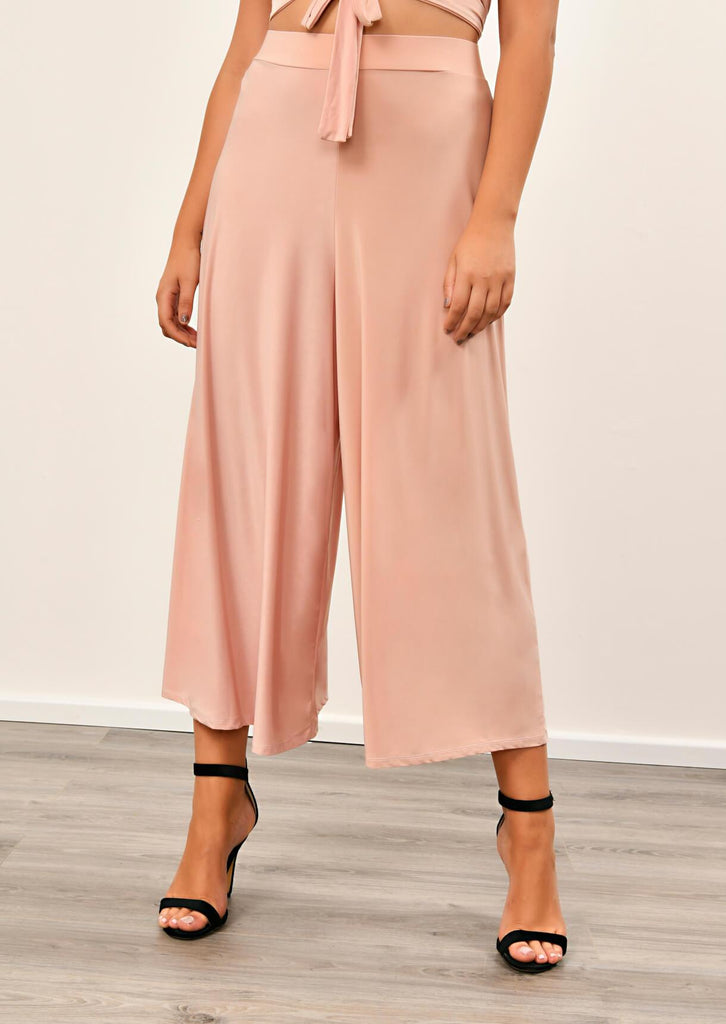 Pink Clove Blush Pink Slinky Wide Leg Cropped Pants Co-ord view 2