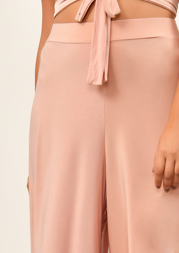 Pink Clove Blush Pink Slinky Wide Leg Cropped Pants Co-ord view 5