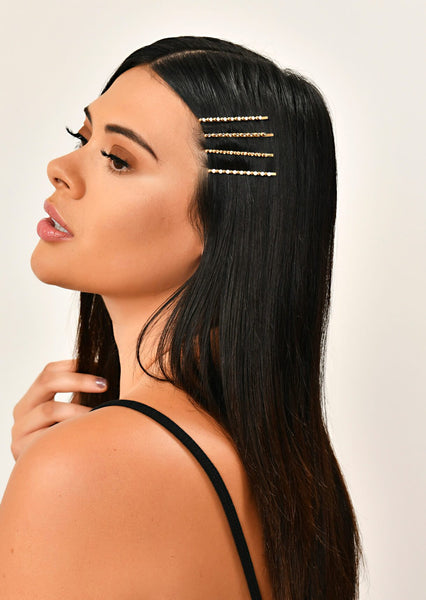 Gold 4 Pack Diamante Hair Clip Set 1