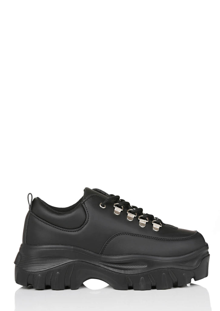 Pink Clove Wide Fit Black Chunky Trainers