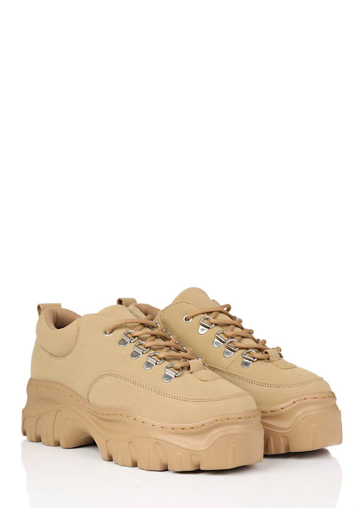 Pink Clove Wide Fit Sand Chunky Trainers view 3