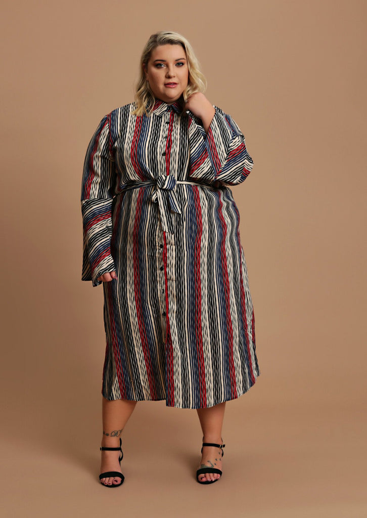 Pink Clove Red Bell Sleeve Midi Shirt Dress