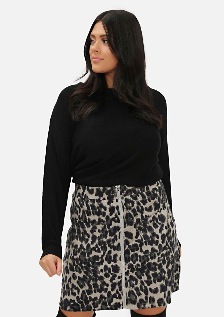 Pink Clove Grey Zip Through Two Pocket Leopard Mini Skirt view main view