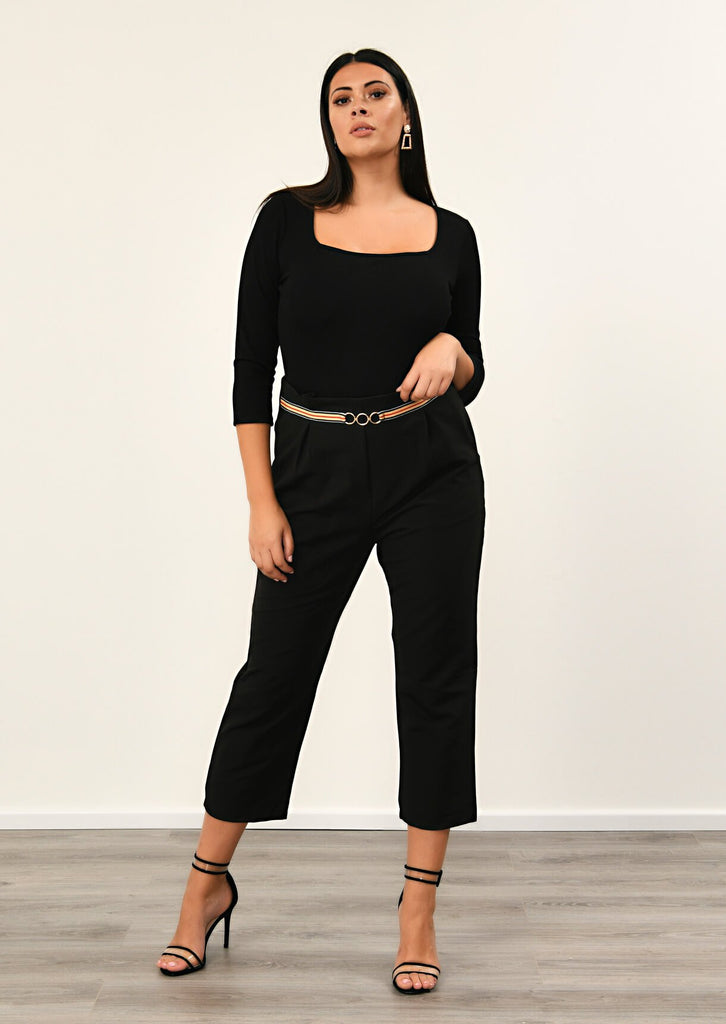 Pink Clove Black Stripe Ring Belt Trousers view main view