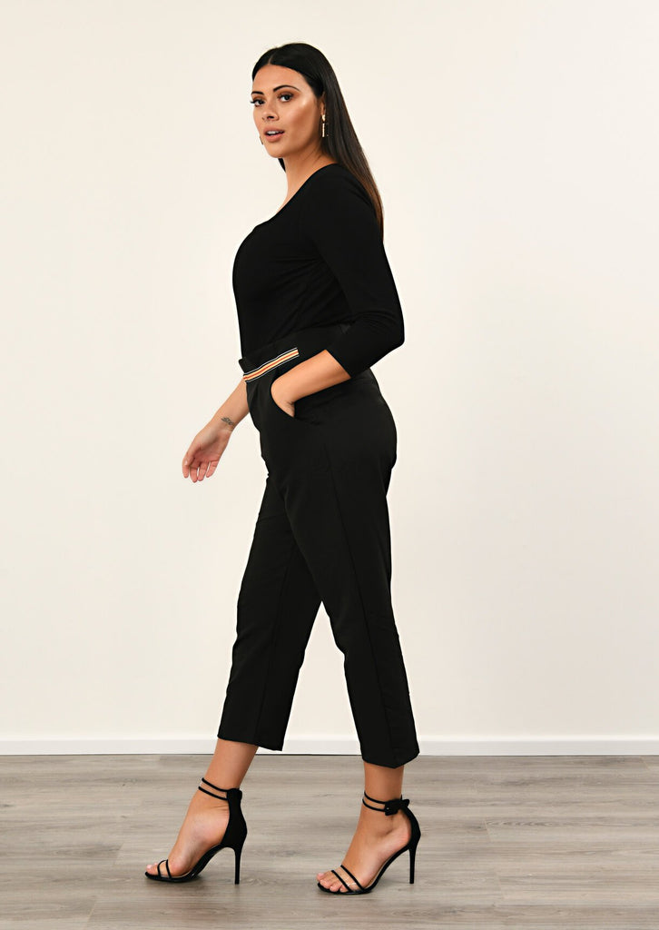 Pink Clove Black Stripe Ring Belt Trousers view 2