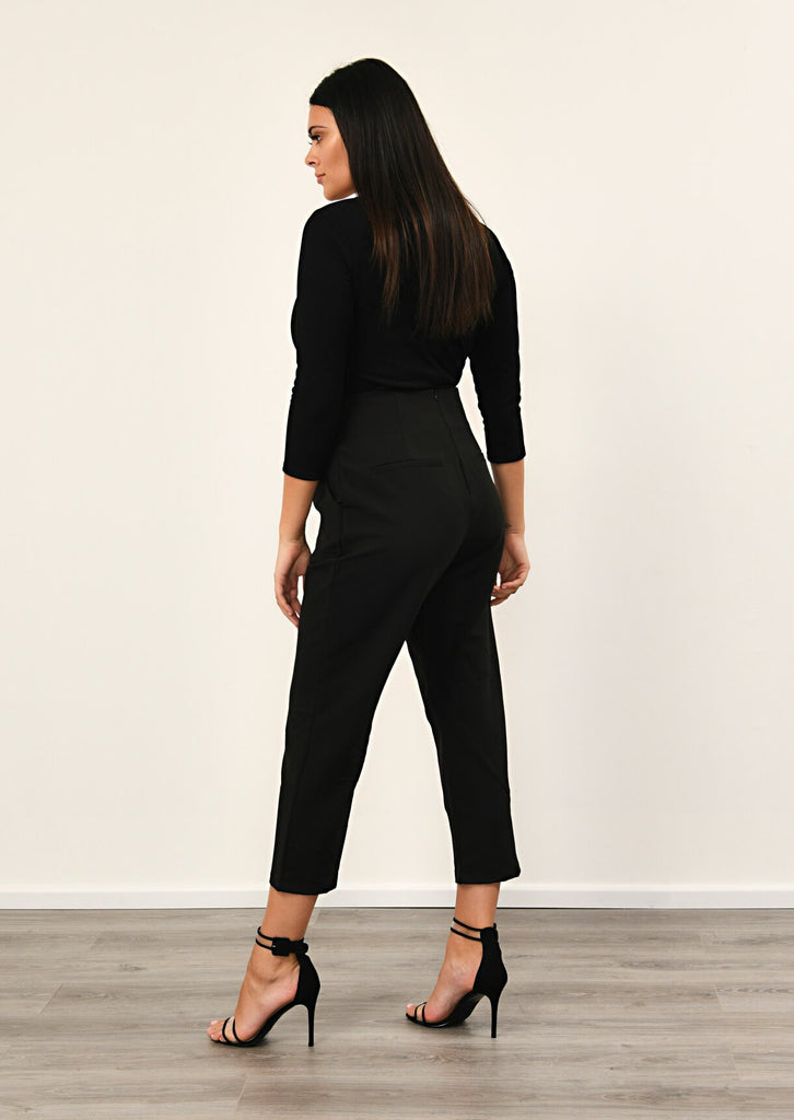 Pink Clove Black Stripe Ring Belt Trousers view 3
