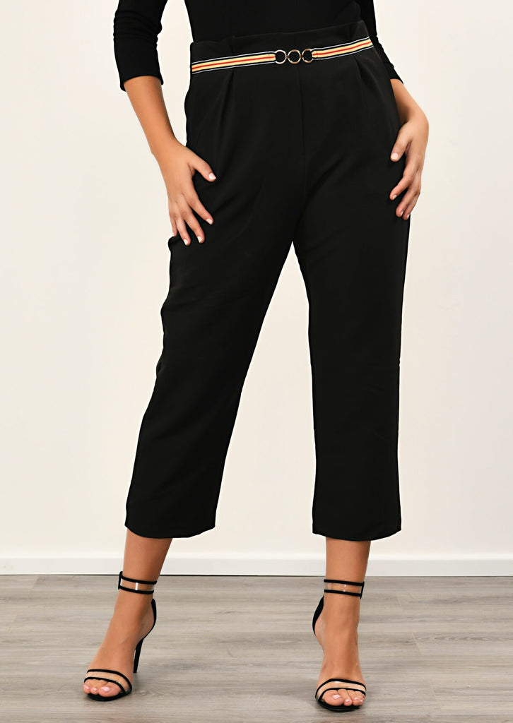 Pink Clove Black Stripe Ring Belt Trousers view 4