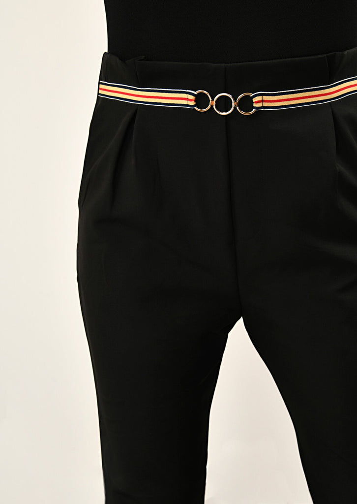 Pink Clove Black Stripe Ring Belt Trousers view 5