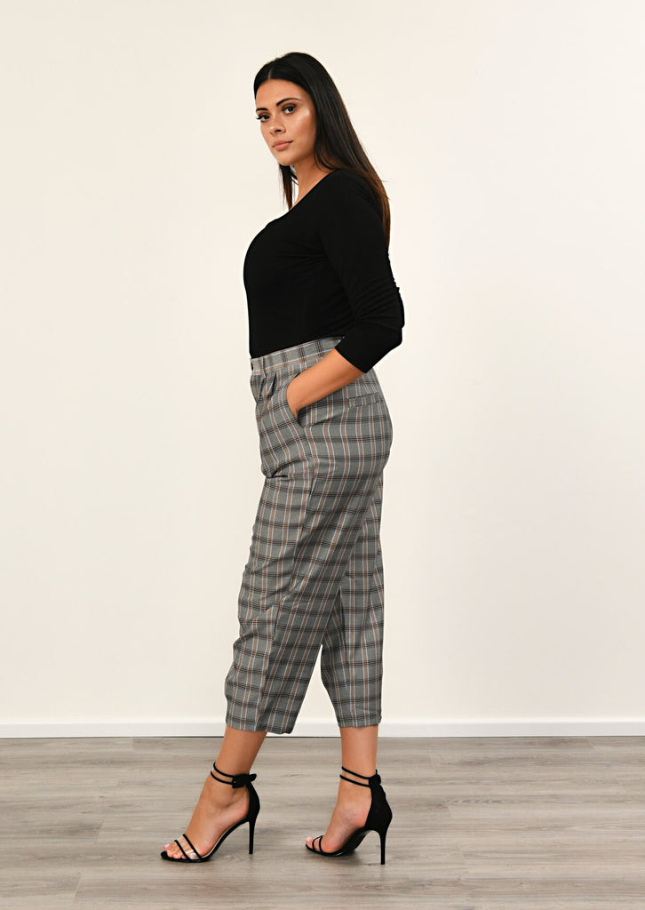 Pink Clove Grey Checked Pocket Detail Trousers view 2