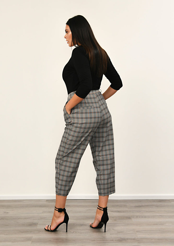 Pink Clove Grey Checked Pocket Detail Trousers view 3