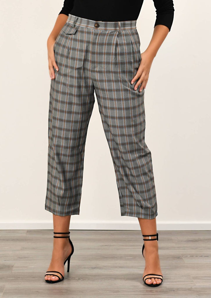 Pink Clove Grey Checked Pocket Detail Trousers view 4