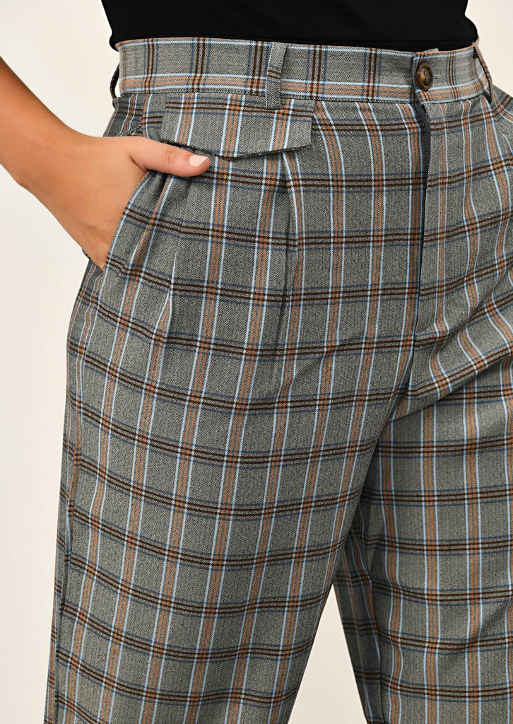 Pink Clove Grey Checked Pocket Detail Trousers view 5