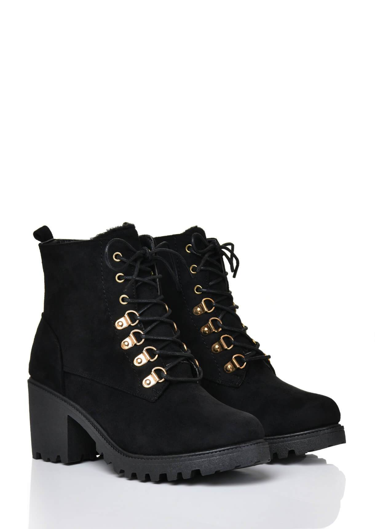 Wide Fit Black Faux Suede Chunky Heel Elastic Ankle Boots
